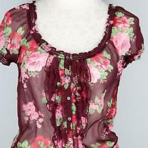 Abercrombie and Fitch Sheer Floral Peasant Blouse